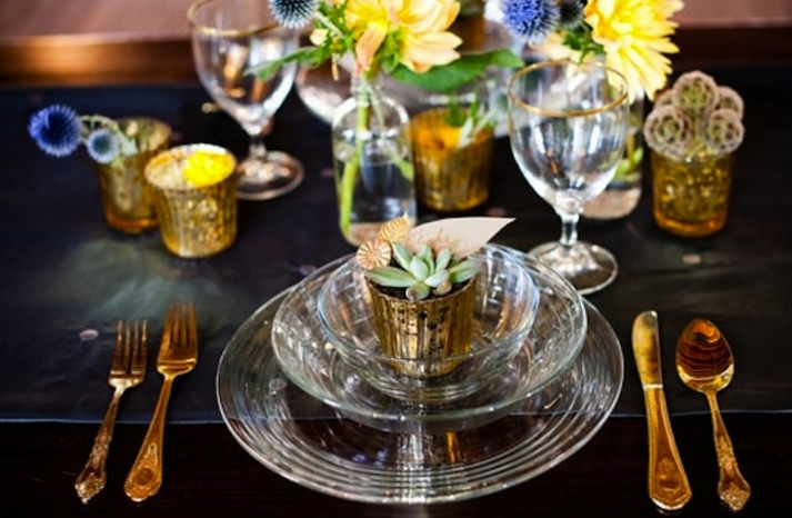 elegant wedding reception decor mercury glass accents 1