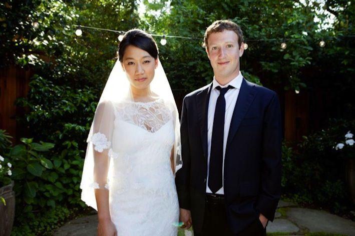celebrity weddings Mark Zuckerberg bride wears Claire Pettibone wedding dress