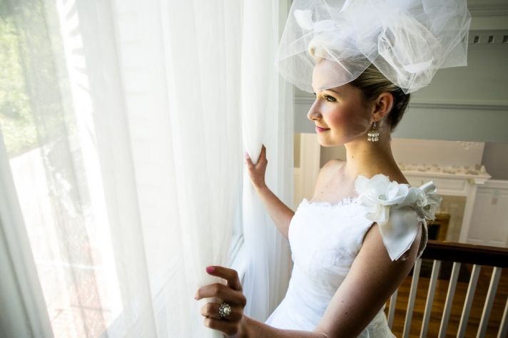 romantic mansion wedding with vintage inspired bride and groom dramatic bridal veil