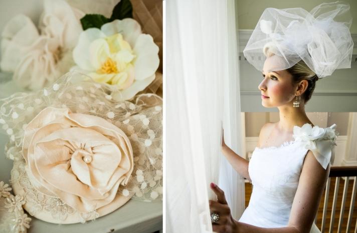 romantic California wedding vintage inspired shoot bridal hair accessories