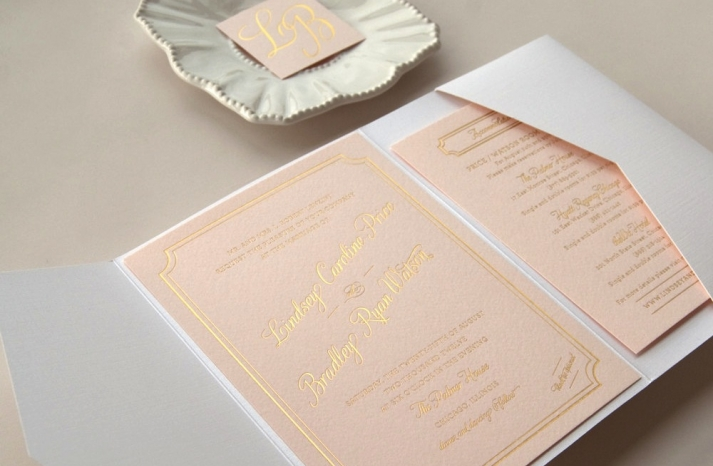 gilded wedding invitations Etsy weddings stationery pastel peach letterpress