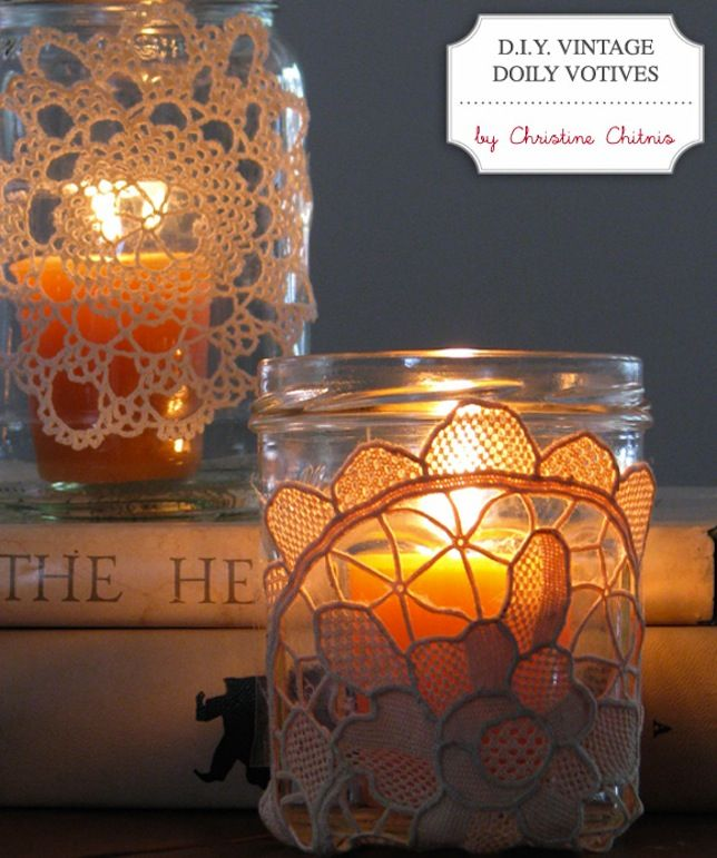 vintage wedding DIY projects doily covered votives