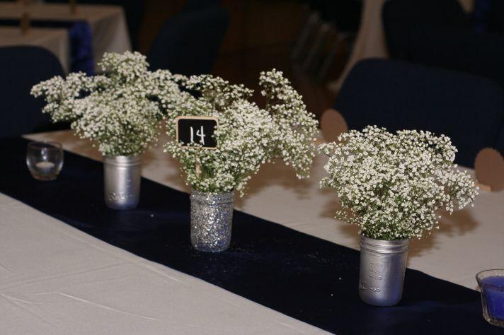 things brides love Mason Jar wedding reception decor centerpieces pink glitter