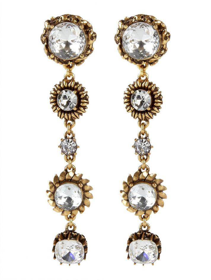 bridal shoes Oscar de la Renta wedding heels statement earrings