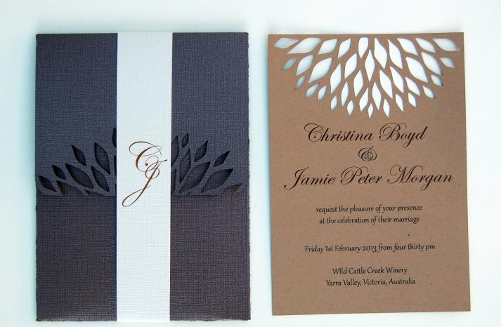 handmade wedding stationery decor using kraft paper Etsy weddings laser cut invites