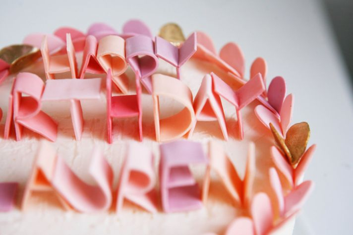 custom wedding ideas fondant lettering cake topper pastel pink peach  full Fondant Lettering for Your Wedding Cake