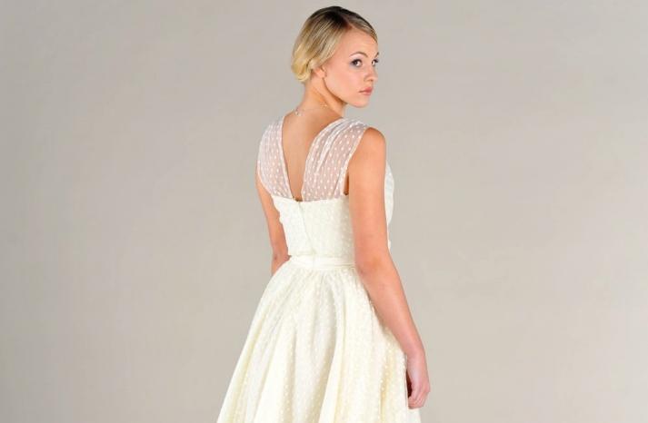 wedding inspiration from Etsy polka dots tea length wedding dress