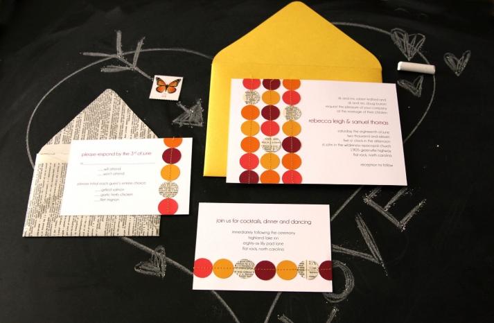 wedding inspiration from Etsy polka dots handmade invitation suite