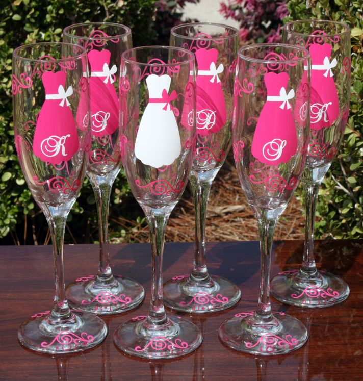 6 Personalized Wedding Gifts For Bridesmaids Booze Theme Painted Flutes