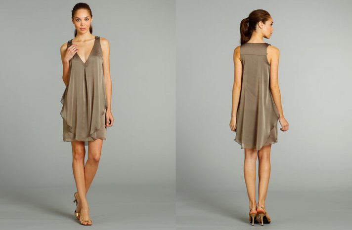 bridesmaids dresses for stylish bridal parties Jim Hjelm from JLM Couture taupe sheath