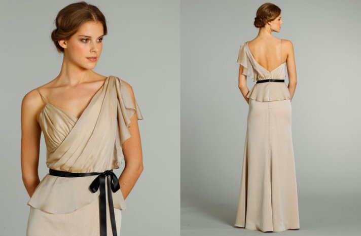 bridesmaids dresses for stylish bridal parties Noir by Lazaro from JLM Couture taupe one shoulder