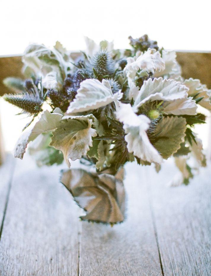 modern elegant wedding flowers bridal bouquet with dusty miller