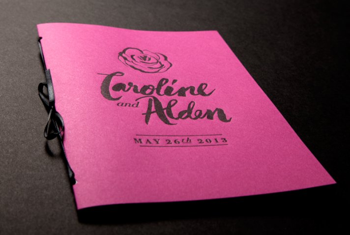 bold rose wedding inspiration ceremony reception stationery pink black programs