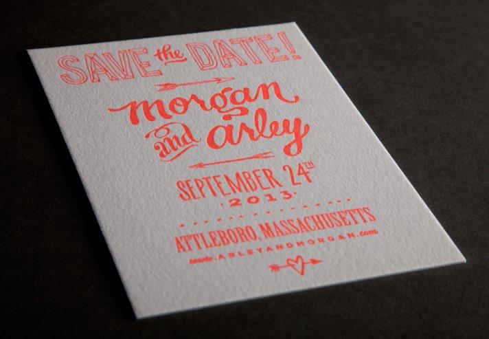 ladyfingers letterpress wedding invitations stationery ecru neon orange