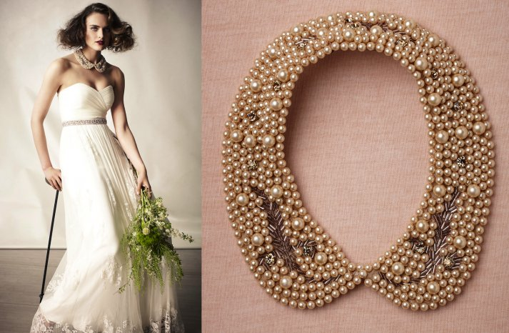 wedding jewelry for vintage brides BHLDN bridal necklace antique pearls