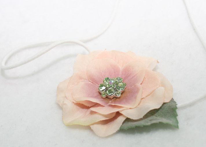 succulent green pastel pink peach wedding colors bridal headband