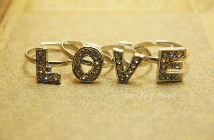 bejeweled bride wedding accessories LOVE stackable rings