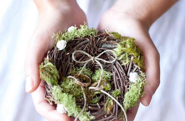memorable moss wedding decor for ceremony reception rustic ring bearer pillow