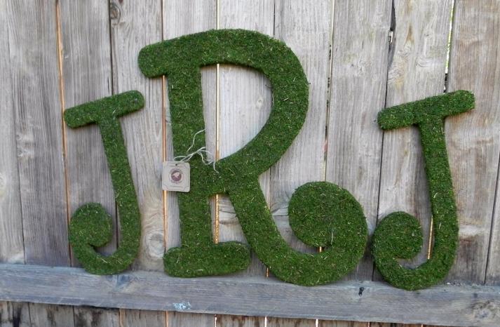 rustic moss wedding ceremony reception decor eco friendly custom monogram
