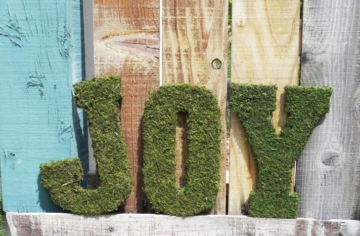 rustic moss wedding ceremony reception decor eco friendly joy sign