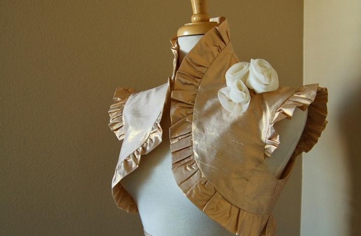 beautiful bridal boleros to top a simple wedding dress metallic gold