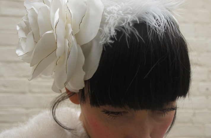 eco friendly wedding finds recycled on Etsy recycled satin headpiece