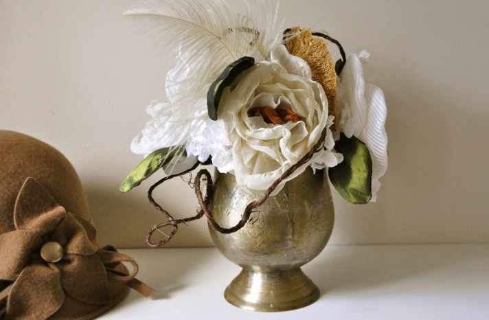 fall wedding flowers bouquets and centerpieces brass vase vintage inspired