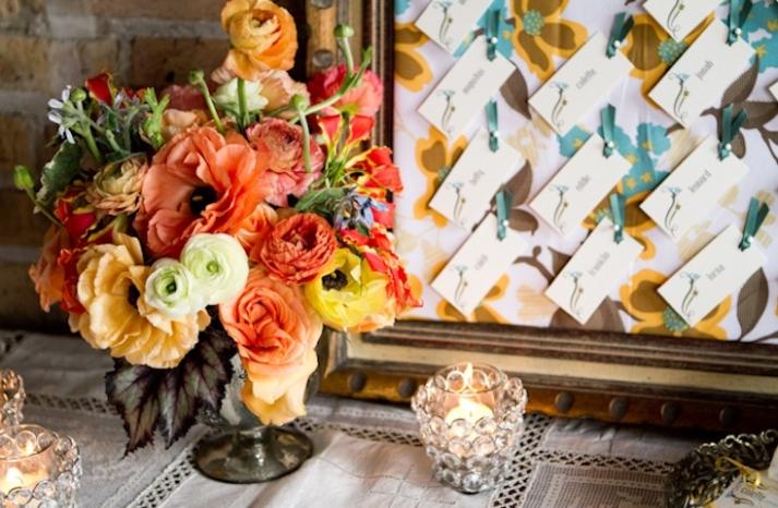 romantic wedding flowers Poppy orange centerpiece with poppies