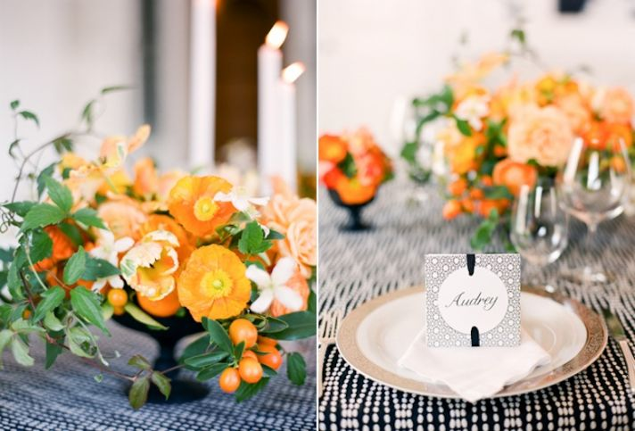 romantic wedding flowers Poppy orange green centerpiece