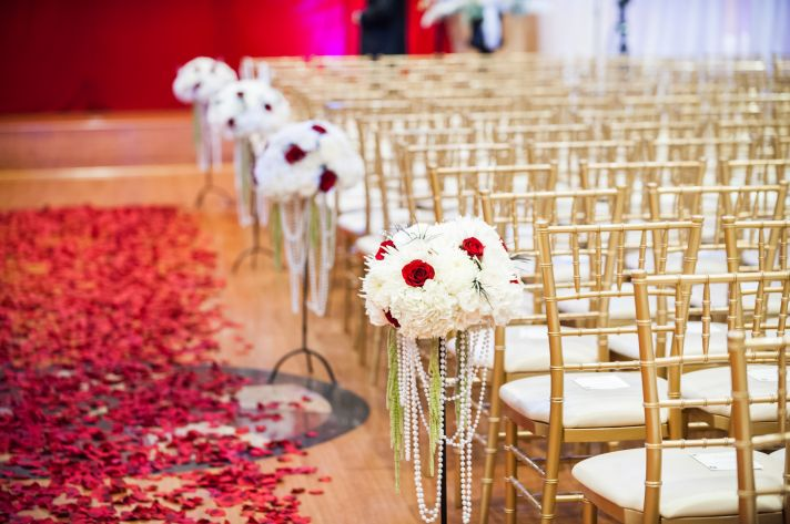 epic wedding in Los Angeles California weddings retro glam ceremony flowers red white
