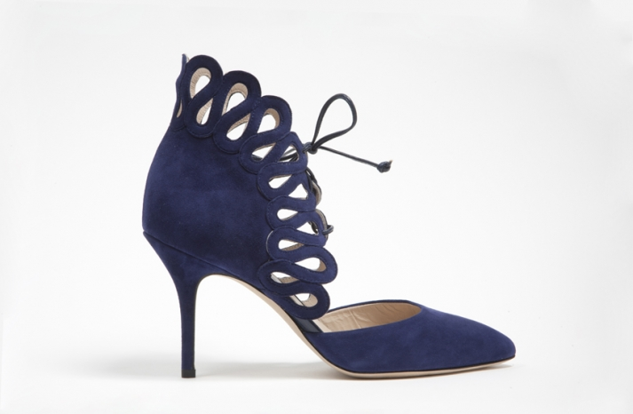wedding shoes by monique lhuillier Fall 2013 bridal something blue navy suede