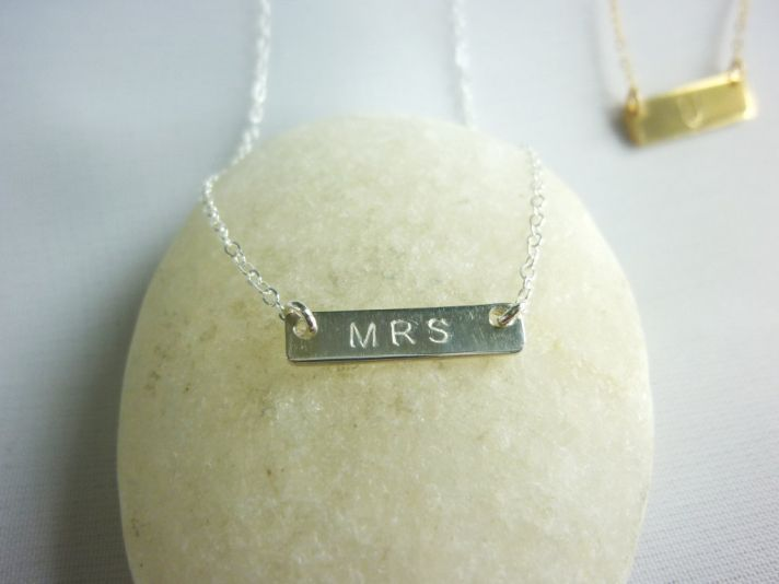 customized wedding jewelry engraved monogram necklace gold MRS