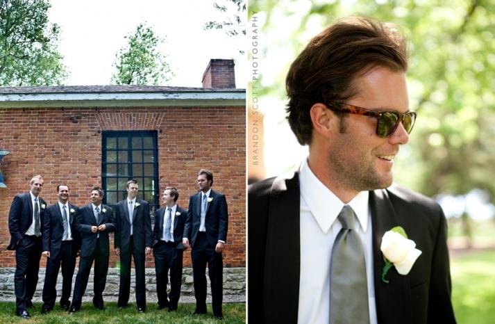 cool groom wears black suite ray ban sunglasses grey tie groomsmen best man pose