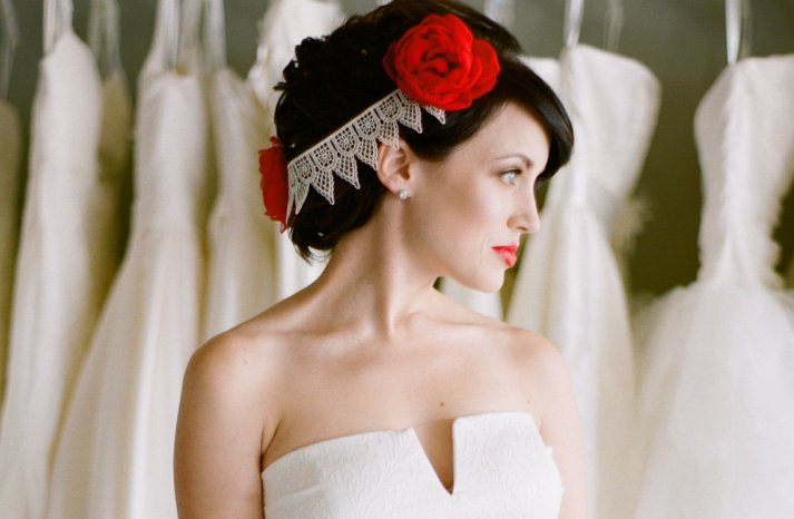 Red Wedding Accessories lace floral headband