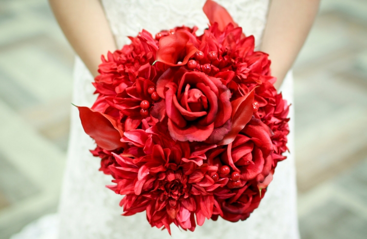 all red wedding bouquet handmade bridal accessories