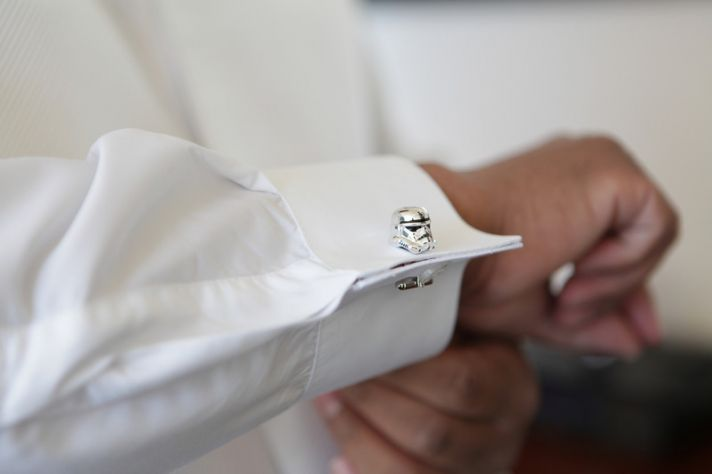 Wedding Planning Advice Tiny Touches of Theme Star Wars cufflinks