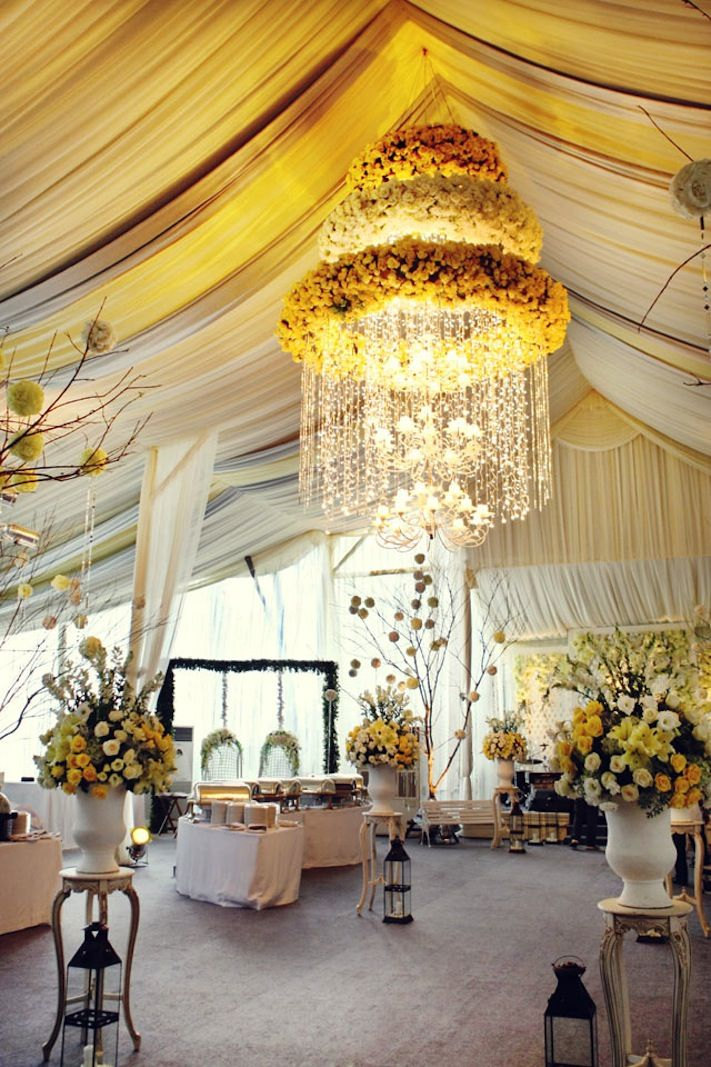 Romantic wedding ideas we love floral chandeliers for the reception wedding ideas we love floral adorned chandeliers 7 aloadofball Images
