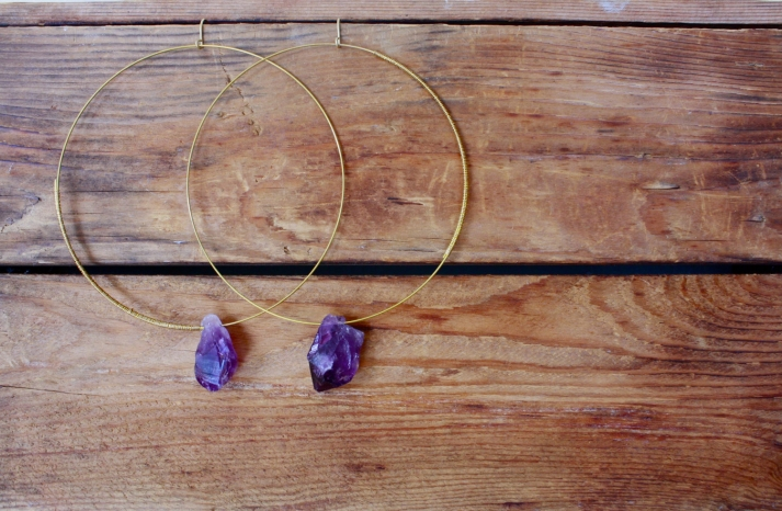 Elegant Wedding Accessories Amethyst Bridal Jewelry hoop earrings