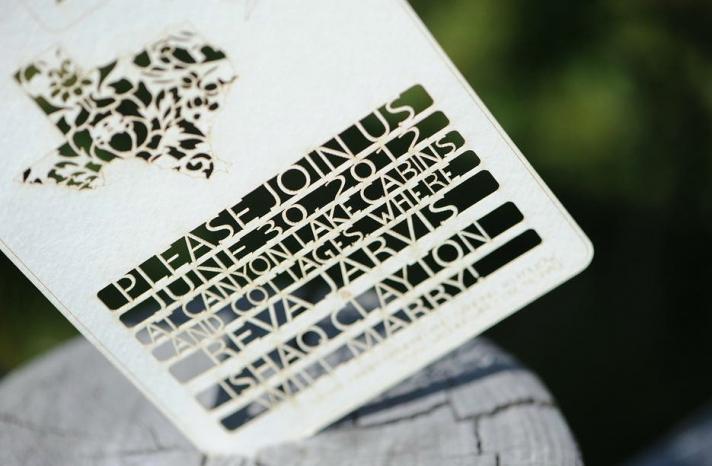 Handmade Wedding Finds Laser Cut texas invites
