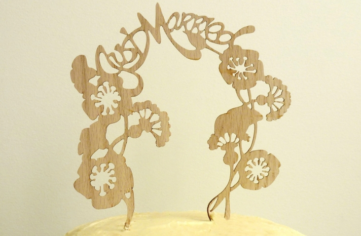 Handmade Wedding Finds Laser Cut wood cake topper