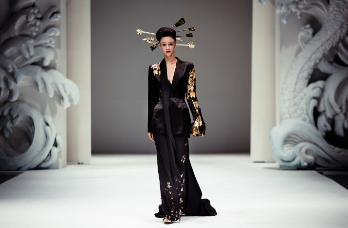Cultural Wedding Inspiration Black Oriental bridesmaid look