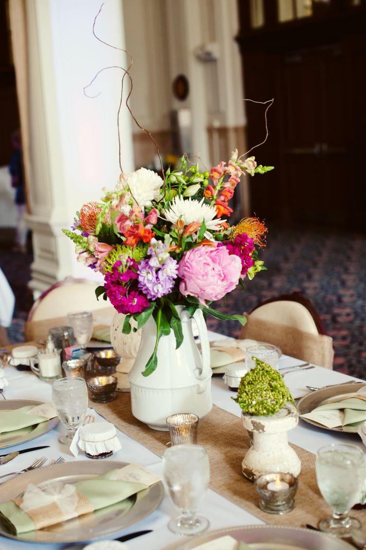 Romantic Summer Wedding Centerpiece Indiana weddings