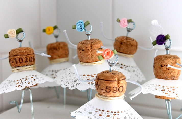 Handmade Wedding Finds for Unique Weddings Cork cake toppers