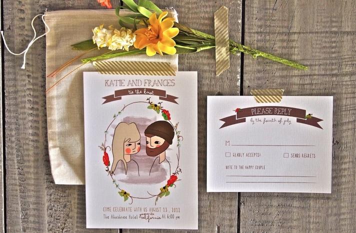 Rustic Illustrated Wedding Invitation Custom Portraits