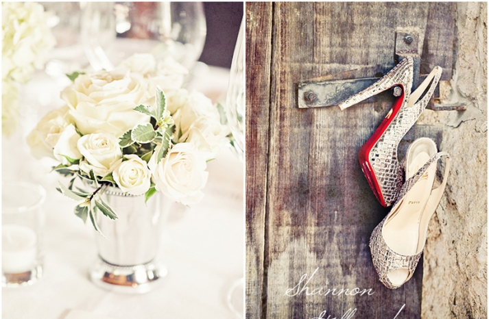 California Wedding Inspiration Ivory Roses and Louboutins