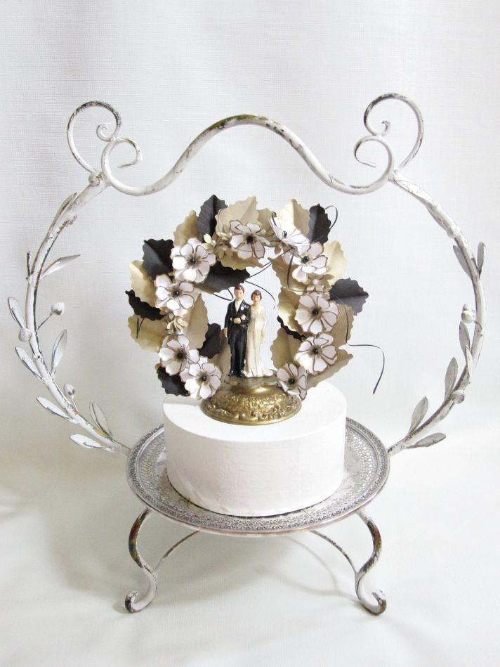 Vintage Wedding Cake Topper Gold Black White