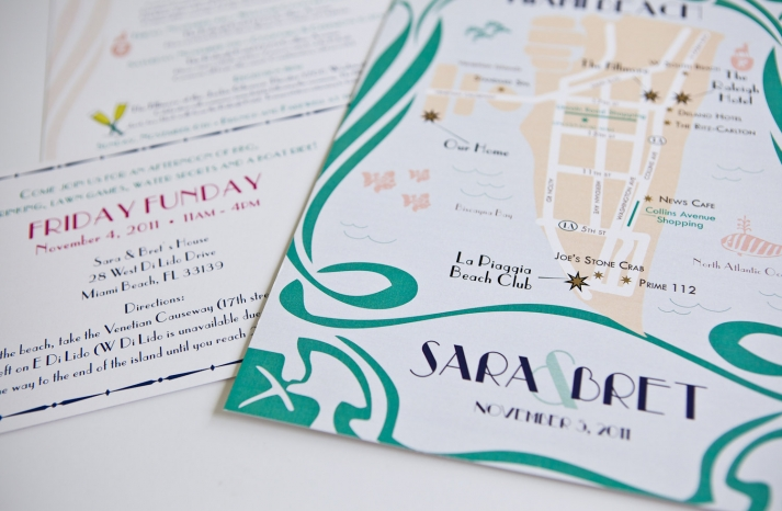 Art Deco Style Map Wedding Invitations