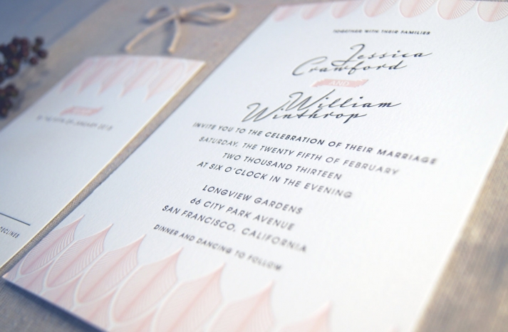 Romantic Letterpress Wedding Invitations Art Deco Design