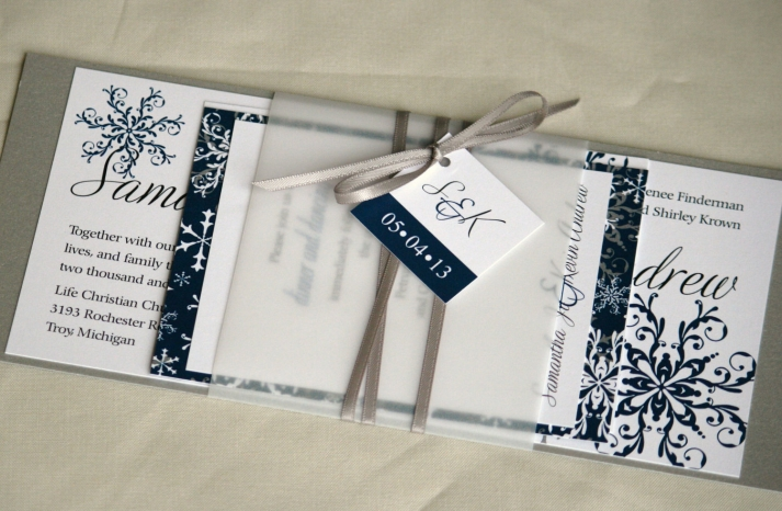 Unique Wedding Invitation Set White Navy Winter Weddings