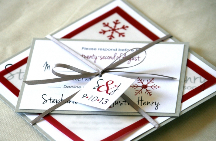 Whimsical Winter Wedding Red White Silver Invitations
